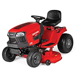 Craftsman T135 18.5 HP Briggs & Stratton 46-Inch Gas Powered Riding Lawn Mower 91 POWERFUL BRIGGS AND STRATTON GAS ENGINE WITH READY START: Powerful gas engine suitable for larger yard jobs while ready start technology provides a quick, efficient start. 46-INCH CUTTING DECK WITH INCLUDED DECK WASH: Lawn tractor comes equipped with wide 46-Inch cutting deck for cutting, trimming, and clipping grass in one quick sweep. Included deck wash saves time when underside cleaning. CVT TRANSMISSION: unit is equipped with CVT foot pedal transmission.