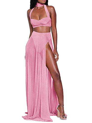 TOB Women's Sexy Summer Halter Slit 2 Piece Maxi Chiffon Dress Skirt Set - Dress Set Chiffon