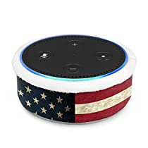 Fintie Protective Case for Amazon Echo Dot (fits All-New Echo Dot 2nd Generation) - Premium Vegan Leather Sleeve Cover Plush Lined Holder Stand (Upgraded Edition), US Flag