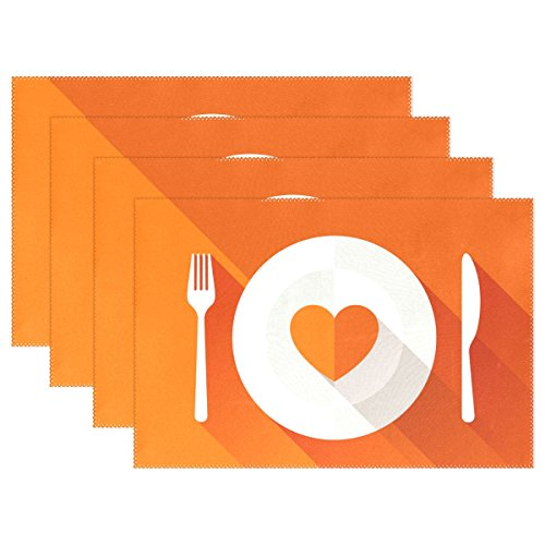 18' Rectangular Tray (U LIFE Cute Cartoon Knife and Fork Thick Tray Mat Plate Place Mats Placemats for Kitchen Dining Table 12 x 18 Inch Machine Washable Polyester Fabric Set of 4 or 6 Orange)