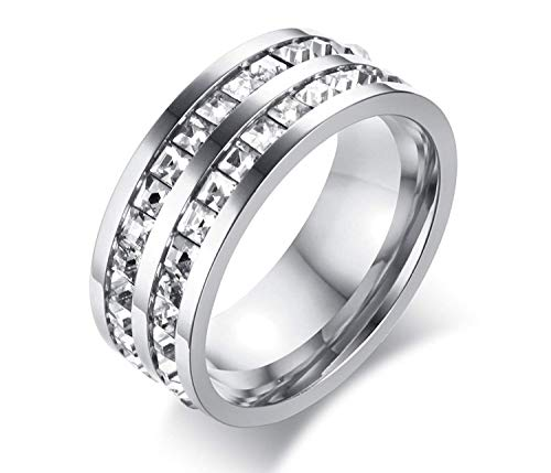 POVANDER 8mm Stainless Steel Double 2 Row of Square Rhinestone Eternity Wedding Engagement Band Promise Ring,Silver 9 ()