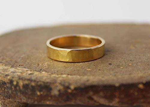 18k gold band ring. Hammered yellow gold wedding band. 5mm 18k genuine solid gold. Handmade organic rustic artisan men's women's unisex gold. Handcrafted in Colorado, US.