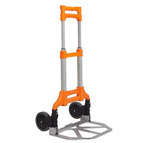 Foldable Trolley (Lucky Tree Foldable Hand Truck Classics Aluminium Personal Cart Durable Folding Dolly Maximum Capacity 170LB (orange))