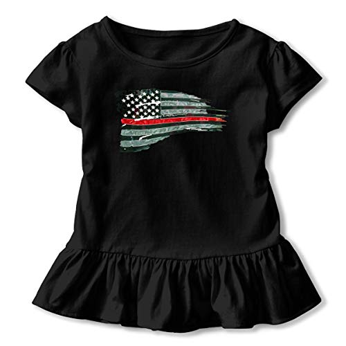 Firefighter Red Line Flag22 Toddler Girls Round Neck Ruffle Short Sleeves Top Tunic for Home School As Gift for Children -