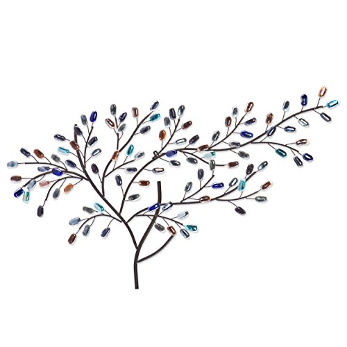 Southern Enterprises Brenchan Tree Wall Art Sculpture  Multicolored Glass Leaves  Black Metal Frame