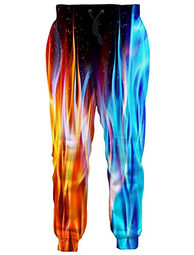 RAISEVERN Unisex Sweatpants Ice & Fire Funny Joggers Pants Colorful Jogging Trousers Sportswear with Drawstring for Men Women ()