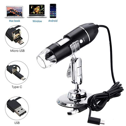 USB Digital Microscope, JUN-L 3 in 1 Handheld 50X-1600X Magnification Endoscope, 8 LED Mini Video Camera for Windows 7/8/10 Mac Linux Android