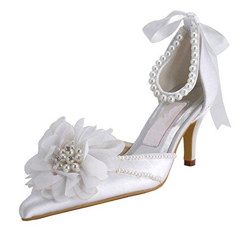 Heel Satin Heel Pointy White Minitoo Toe Womens 7 Beading Bridal 5cm Pump Shoes High Wedding YTfwIFwWq