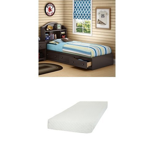 South Shore Summer Breeze Twin Mates Bed (39'') with 3 Drawers, Chocolate, and Somea Twin Mattress included