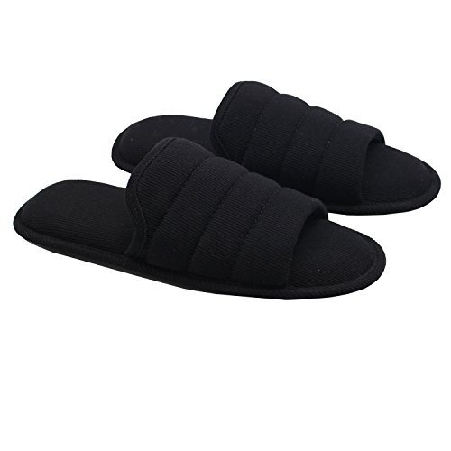 Ofoot Men's Cozy Thread Cloth Open Toe House Slippers, Indoor/Outdoor Slip On Shoes (Medium/9-10 D(M) US, Black) by Ofoot