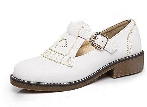 VogueZone009 Damen Niedriger Blend-Materialien Rein Schnalle Rund Zehe Pumps Schuhe Weiß