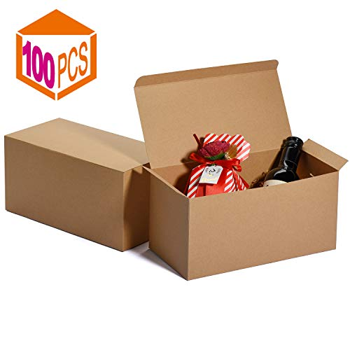 MESHA Groomsmen Gift Boxes 9x4.5x4.5 Inch Gift Boxes Bulk Gift Boxes with Lids Brown Kraft Paper Boxes Easy Assemble Boxes for Wrapping Gifts (Brown-100Pcs)