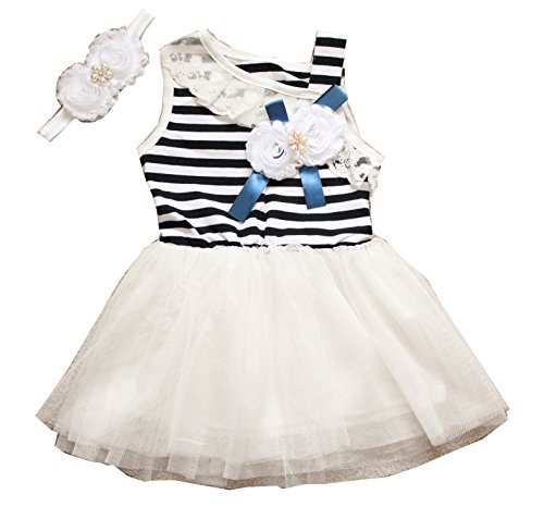 LMC Baby Girl Summer Sleeveless Stripe Cotton Lined Tutu Dress with Matching Handmade Headband (2T, White)