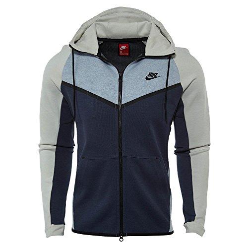Nike Mens Sportswear Tech Felpa In Pile Windrunner Con Cappuccio Ghiacciaio Grigio / Osso Chiaro / Nero