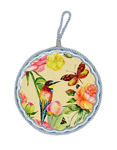 Home-X Decorative Ceramic Trivet with Hanging Loop | Monarch Butterfly, Bird and Garden Flower Design | Wall Decor and Hot Plate Table Protector