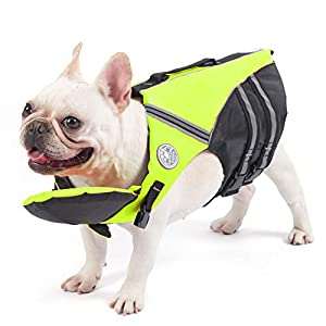French Bulldog Life Jacket, Pet Life Vest, Dog Lifesaver Preserver with Handle & Reflective, for Swim, Pool, Beach… Click on image for further info.