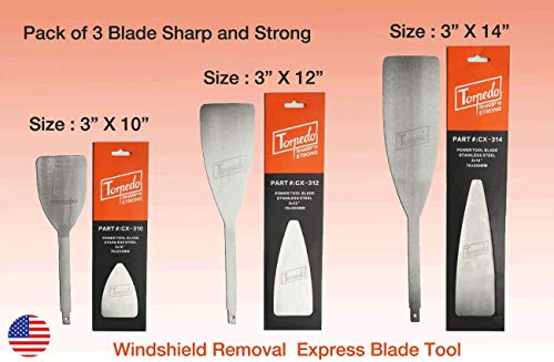3 PACK TORPEDO Windshield Express removal Blade Autoglass Tool, FOR - Equalizer Ambush Blade, Black ops, Push Knife Blade, Equalizer Stingray, Windshield Replacement blade 3 X 10in, 3 X 12in, 3 X 14in]()