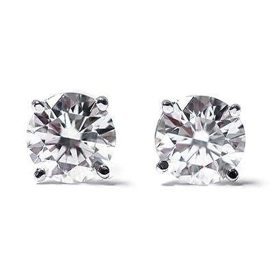 Gem Stone King IGI Certified 1-3 cttw Round Cut 14K White Gold Diamond Stud Earrings for Women