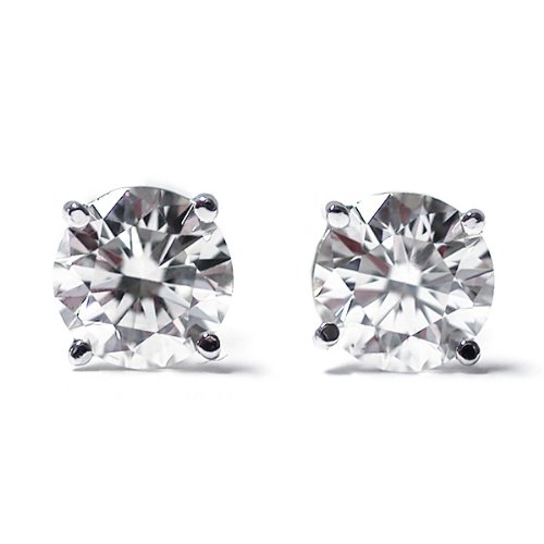 Gem Stone King IGI Certified 1-3 cttw Round Cut 14K White Gold Diamond Stud Earrings for Women