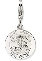 Saint Michael Medal w/Lobster Clasp Charm-Sterling Silver