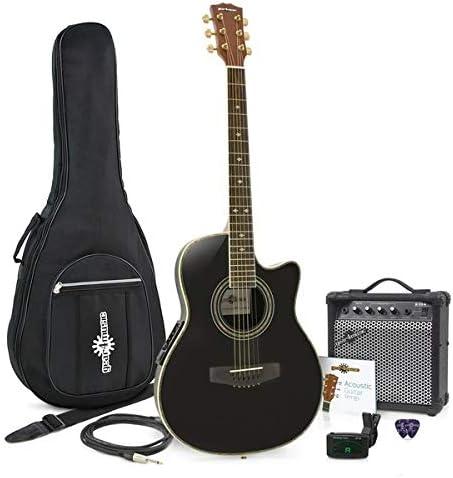 Set de Guitarra Electroacústica Roundback Negra yAmpli de 15 W