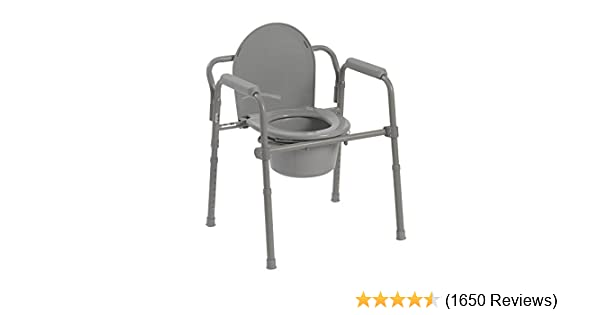 Amazon Drive Medical Folding Steel Bedside Commode Grey Health Personal Care