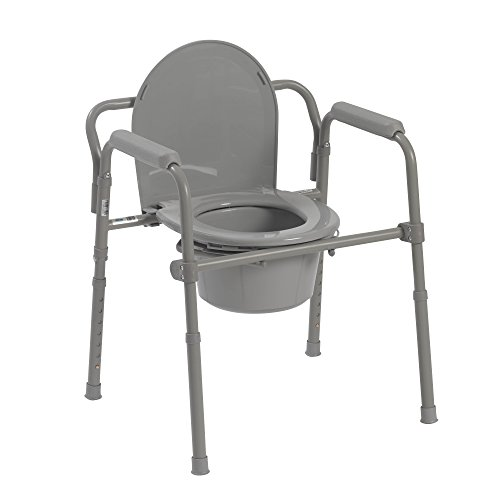 Drive Medical Folding Steel Bedside Commode, Grey by Drive Medical