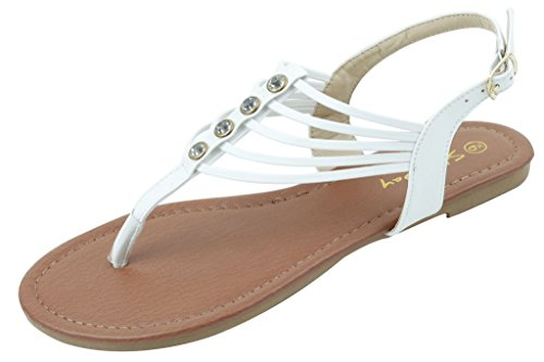 Shoes 18 Womens Roman Gladiator Sandals Flats Thongs 2 Buckle Shoes 4 Colors (8, 182231 White)