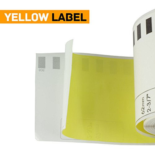 OfficeSmartLabels Brother Compatible DK2606 DK-2606 Black on Yellow Continuous Length Film Tape (2.4 in x 50 ft (62 mm x 15.2 m)) - Label With Permanent Cartridge (Non-Detachable) (Full Set) (1 Pack) Photo #3