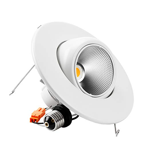 - TORCHSTAR High CRI90+ 6inch Dimmable Gimbal Recessed LED Downlight, 10W (75W Equiv.), ENERGY STAR, 2700K Warm White, 800lm, Adjustable LED Retrofit Lighting Fixture, 5 YEARS WARRANTY