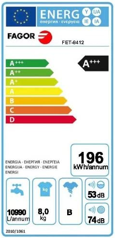 Fagor FET-8412 - Lavadora (A + + +, 10 A, 196 kWh, LCD, 450 mm ...