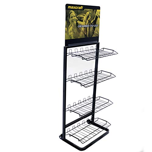 4 Tier Retail Store Display Shelf Wire Rack Display Rolling Merchandise Storage
