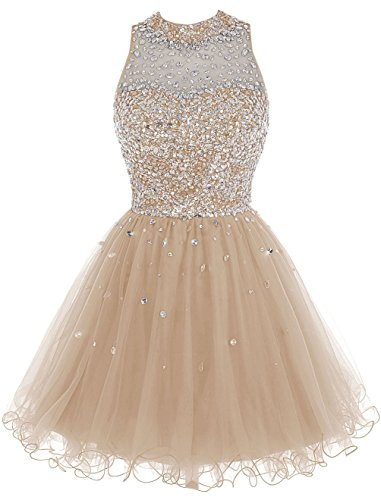 Damen Champagne Luxury 2016 Juniors Abendkleider Gowns Heimkehr for Fanciest Kleider Beaded Kurz waBdxaHqO