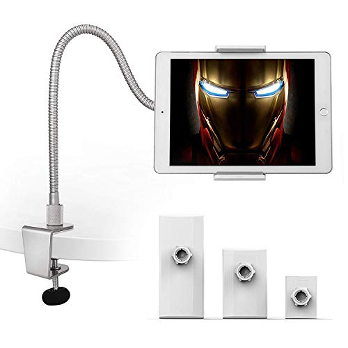 AboveTEK Heavy Duty Aluminum Gooseneck iPad Holder, Cell Phone Desk Mount Tablet Holder iPad Stand for Office Kitchen Bed, Fits 3.5