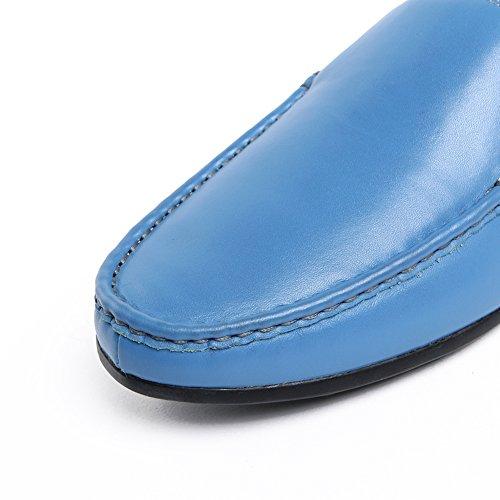 Zapatillas Santimon Mules Zueco Hombre Cómodo Y Simple Slip En Piel Casual Loafers Azul