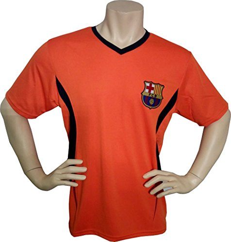 Us Soccer T-shirts (Fc Barcelona Adult Training Jersey Performance Polyester -Shirts - Home -Away (3-ORANGE T1E24, M))