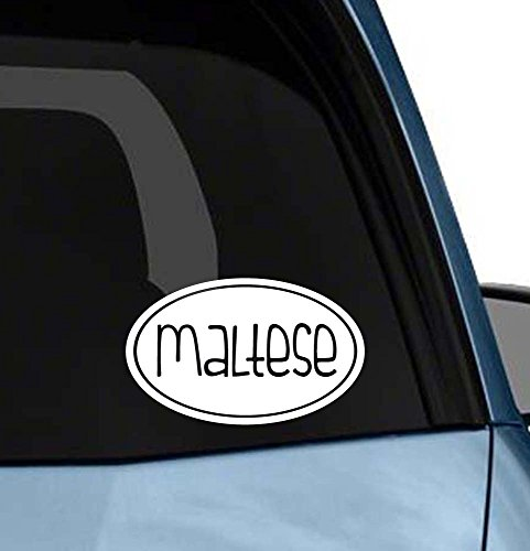Cute Dog euro oval sticker car window or laptop vinyl decal art (Choose your dog please) (Maltese) ()