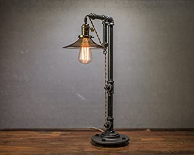 Industrial Table Lamp - Pendant Edison Bulb - Smoked Glass Shade