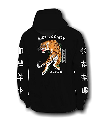 Riot Society Japanese Tiger Mens Graphic Hoodie - Black, Large Blk Hoodie