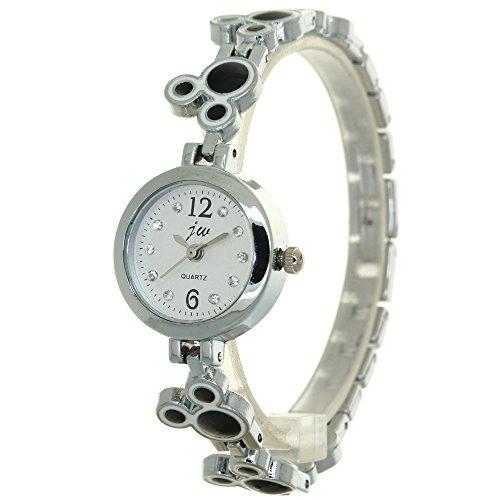 Luxury Brand Women Watches Silver Stainless Steel Mickey Shape Bangle Bracelet Crystal Rhinestone Dial Jewelry Ladies Quartz Watch Dress Women's ()