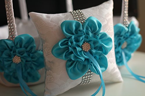 Alex Emotions | Big Flower Collection | Turquoise White Ring Bearer Pillow & Two Wedding Flower Girl Baskets by Alex Emotions