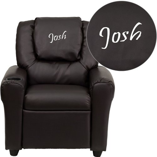 Flash Furniture Personalized Brown Leather Kids Recliner with Cup Holder and Headrest by Flash Furniture