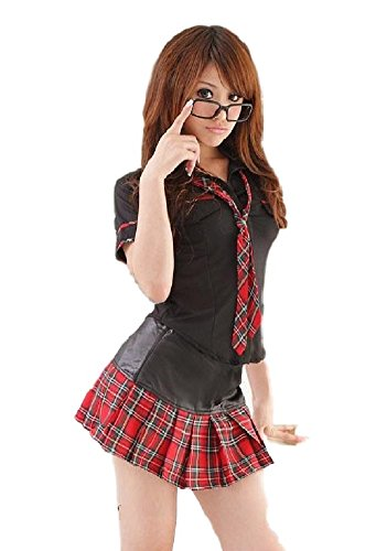 [SSJ Japanese High School Girls Cosplay Costume Red-and-Black Scottish Lolita Tartan Check] (Teen School Girl Costumes)