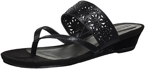 Kenneth Cole REACTION Women's Great Chime Low Wedge Thong Sandal, Black, 8 M US Black Leather Thong