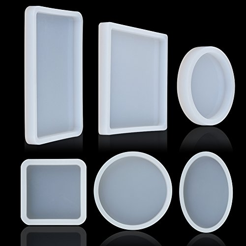 DragonflyDreams 6 Pack Big Designs Resin Molds, Square Round Silicone Resin Jewelry Casting Molds Coaster Molds for Jewelry Making DIY Craft