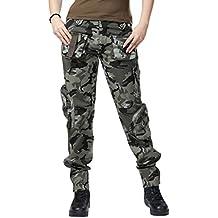 ea3883003cf Chouyatou Women s Military Relaxed Fit Mulit-Pockets Camo Wild Cargo Pants