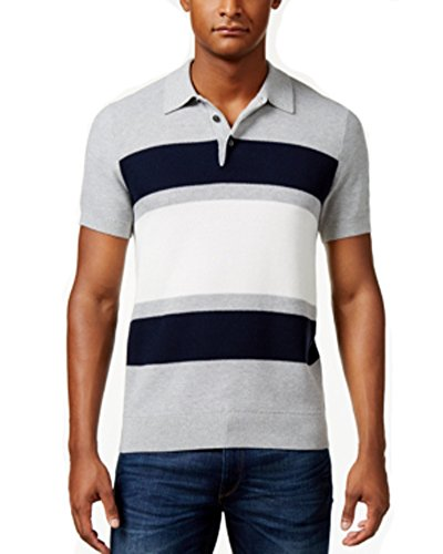 Michael Kors Men's Striped Grey Navy Blue Colorblocked Polo Shirt - Shipping Michael Free Kors Outlet