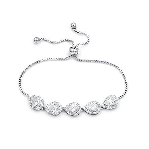 WeimanJewelry Cubic Zirconia CZ Wedding Bridal Pear Cut Adjustable Teardrop Chain Bracelet for Women Lady (Silver) Diamond Shaped Link Bracelet