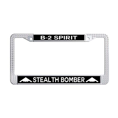 GumiHolders B-2 Spirit Stealth Bomber Top View White Rhinestones Car Auto Tag Frame, Sparkle Crystal Stainless Steel Car Auto Tag Frame(12.25