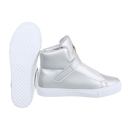 Damenschuhe Ital Design Sneakers Klettverschluss Top High Sneakers Silber High Freizeitschuhe x11twrdq